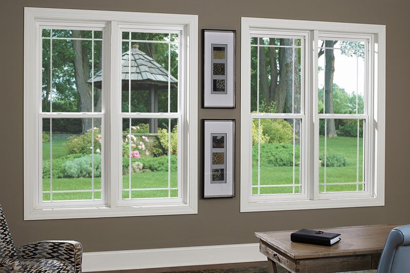 White Series 8100 Single Hung Windows with Perimeter Prairie Grids