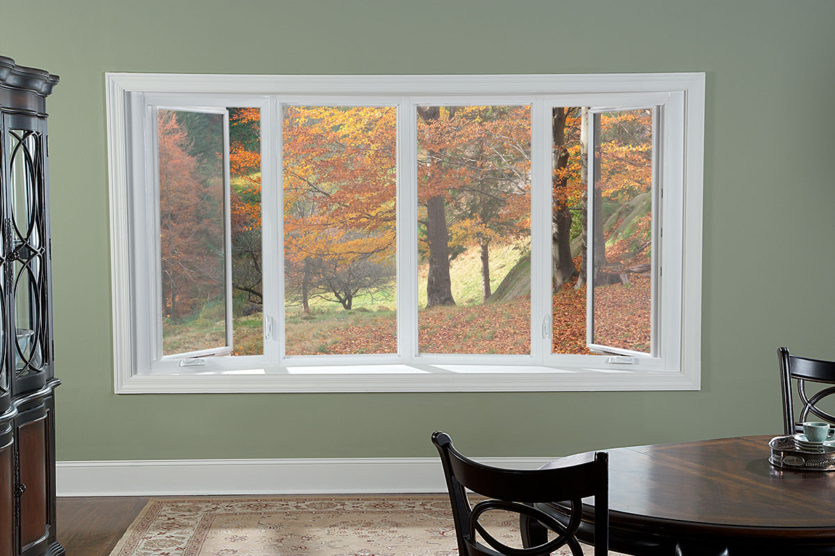 White 4 Lite Bow Window with Casement Flankers