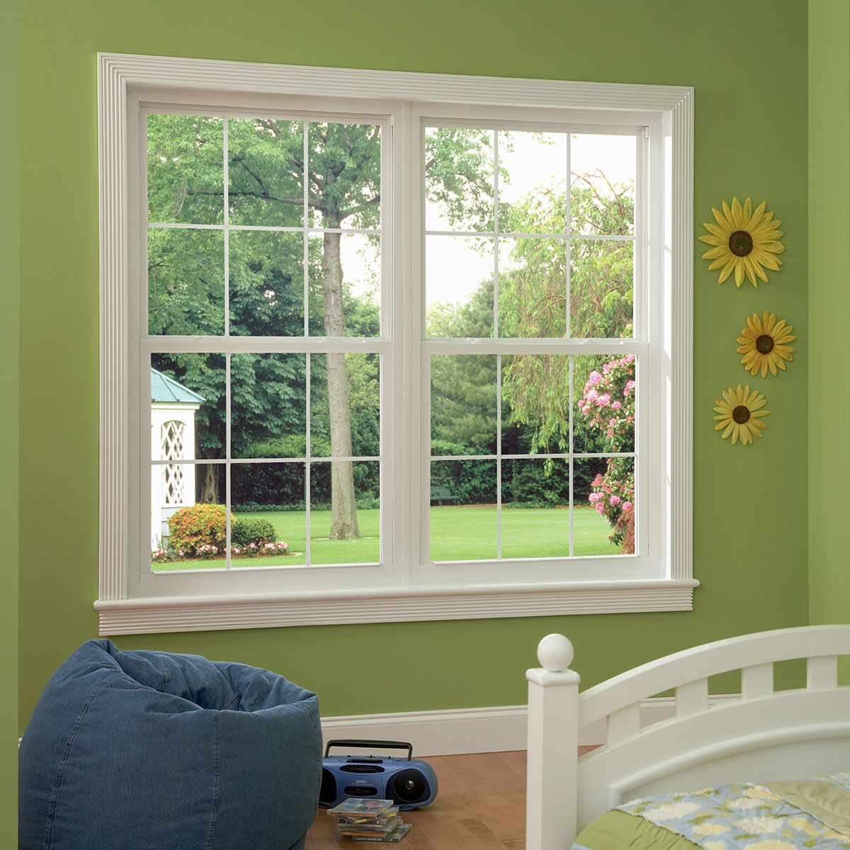 White Series 8050 Side Load Single Hung Windows with Colonial Grids